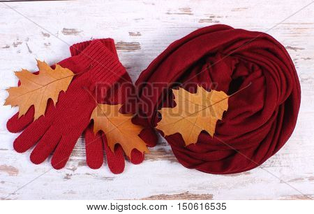 Womanly Clothes And Autumnal Leaves On Old Rustic Wooden Background