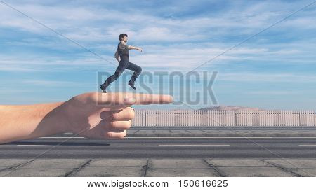 Man running in the direction showed by finger. This is a 3d render illustration