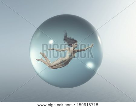 Woman floats in a bubble. This is a 3d render illustration