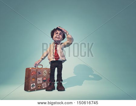Man with a suitcase looking to the distance. This is a 3d render illustration