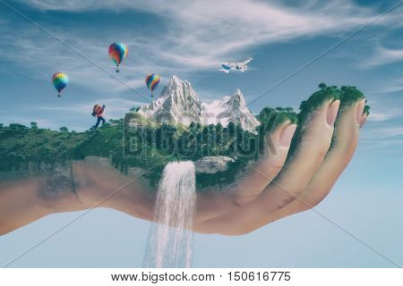 Conceptual image of a mountain landscape held by a hand flowing water cascading and tourist hiking . Ecology concept. This is a 3d render illustration