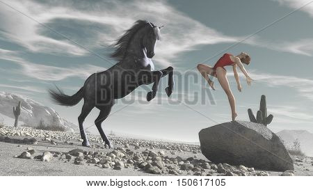 Athlete woman and a horse dancing and playing together in desert.Duet between a horse and a woman. Horse imitate the woman. This is a 3d render illustration