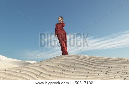 Beautiful woman in a red dress in an desert. This is a 3d render illustration