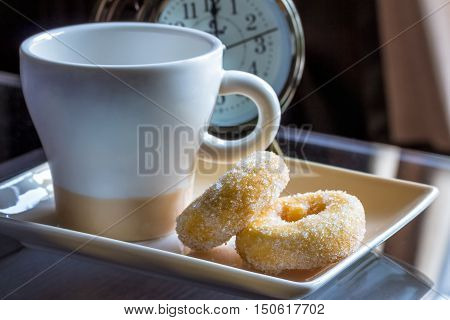 Coffee and donuts at breakfast.Life for the morning rush