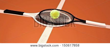 Tennis rackets and tennis ball are located on the soil tennis court. 3D illustration