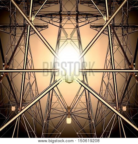 The light bulb on the background of the Electricity pylons. 3D illustration