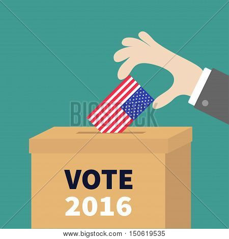 Ballot Voting box Businessman holding American flag paper blank bulletin concept. Polling station. President election day Vote 2016. Isolated Green background Flat design Card Vector illustration