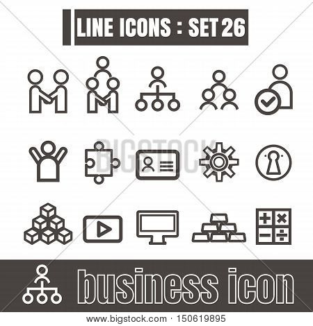 icons set Business Team Works line black Modern Style design elements Geometry Straight lines curves vector on white background
