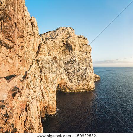 A Stairway Cut into the Cliff of Capo Caccia leading to Cave of Neptune (Grotte di Nettuno) near Alghero, Sardinia, Italy