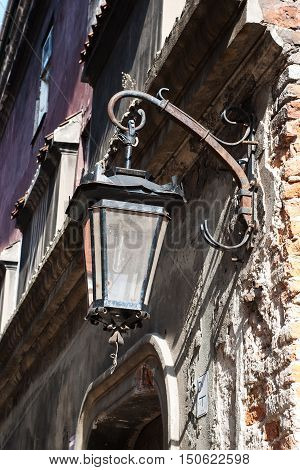 lantern on the street of the old city of Poland