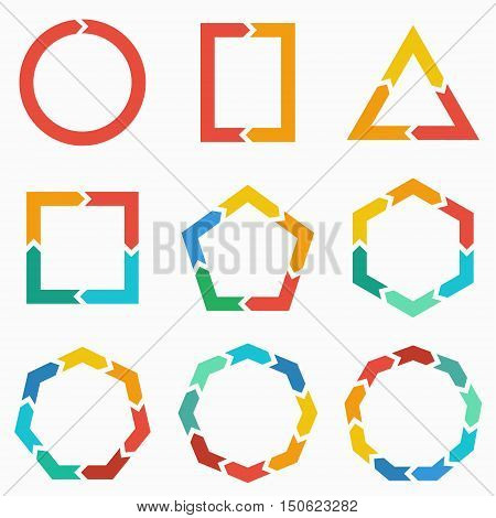 Vector geometric shapes arrows for infographic. Template for diagram graph presentation and chart. Business concept with 123 4 5 6 7 89 options parts steps or processes
