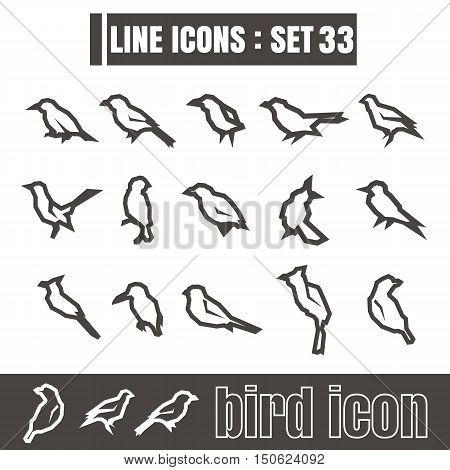 icons set Bird line black Modern Style design elements Geometry Straight lines curves vector on white background