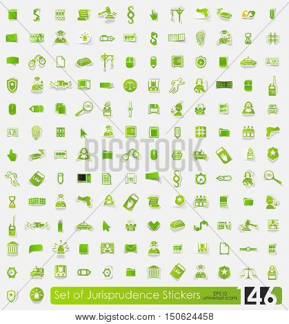 jurisprudence vector sticker icons with shadow. Paper cut