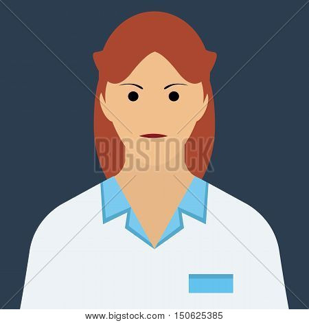 Doctor woman character icon vector isolated. Flat style doctor character in uniform.