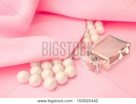 Perfume in a glass bottle and pearl beads on pink silk. 3D illustration