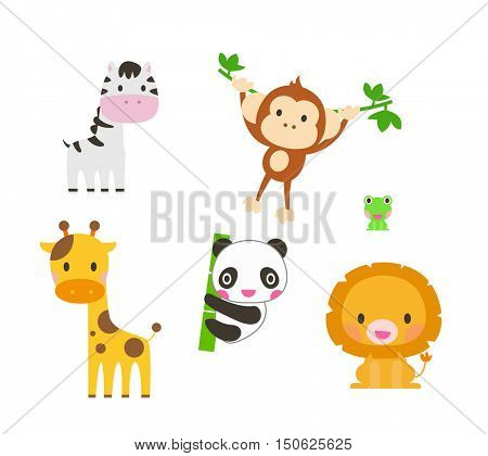 Collection of cute animals. Elephant,lion, zebra,giraffe, panda, monkey. Vector illustration.
