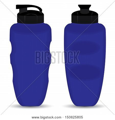 Blue Thermos Mugs set of Front and Side view isolated on white background.
