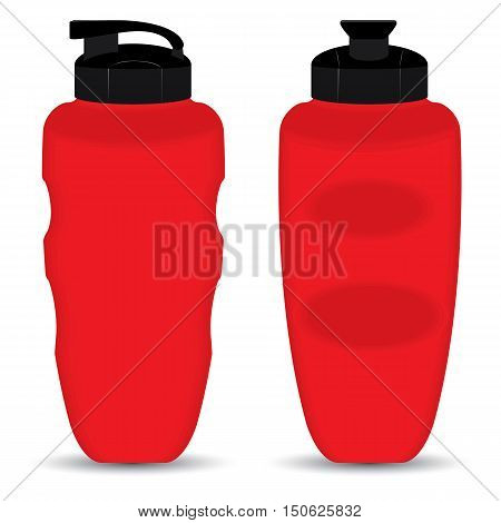 Red Thermos Mugs set of Front and Side view isolated on white background.