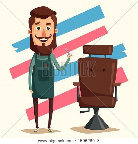 Cute barber character. Barber shop. Cartoon vector illustration. Lounge chair. Scissors in hand. Vintage hairstyle.