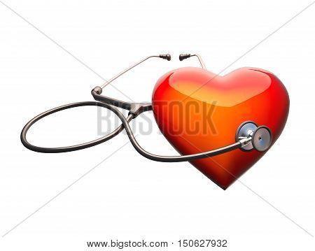 Stethoscope on the heart. Stethoscope on the heart isolat on white background. 3D illustration