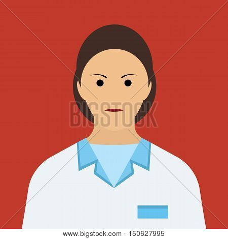 Woman Doctor Icon. Woman face Flat Vector
