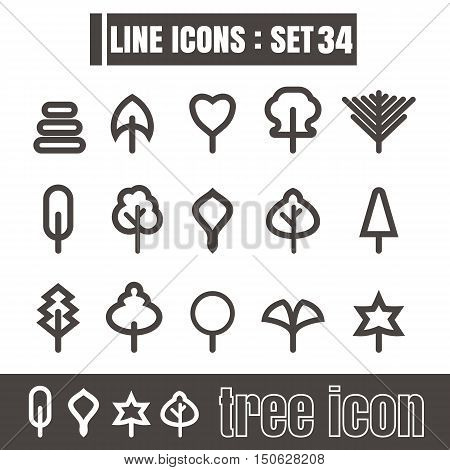 icons set tree line black Modern Style design elements Geometry Straight lines curves vector on white background
