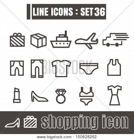 icons set shopping line black Modern Style design elements Geometry Straight lines curves vector on white background