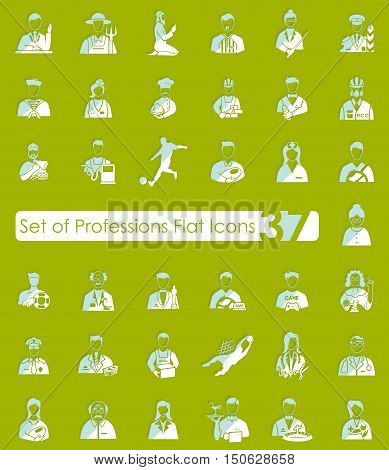 Set of professions flat icons for Web and Mobile Applications