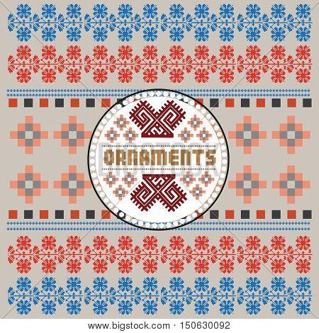 Ethnic National Ornament. Vintage Nordic Ornament. Retro Geometric Embroidery Swatch. Beige Burgundy digital background vector illustration.