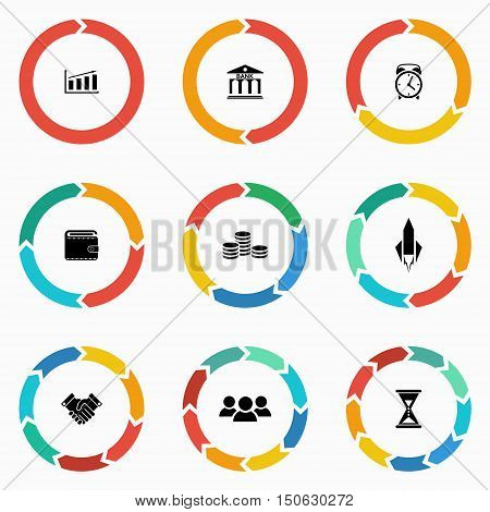 Vector circle arrows for infographic and startup business icon. Template for diagram graph presentation and chart. Business concept with 123 4 5 6 7 89 options parts steps or processes