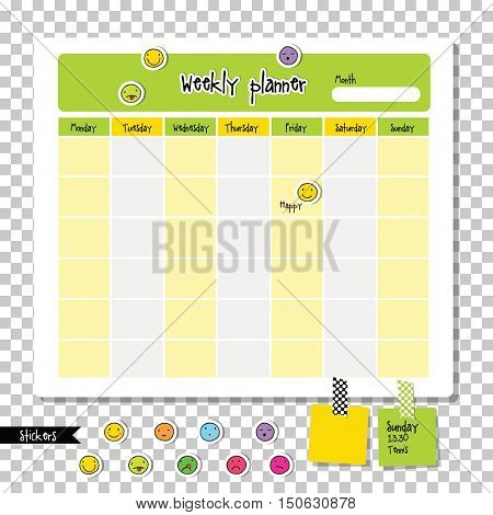 Weekly planner. Note paper, Notes, to do list. Organizer planner template. Note paper. With colorful smiley icon stickers.