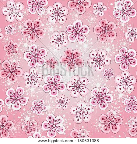 Floral seamless spring pattern with pink cherry flowers (vector EPS10)