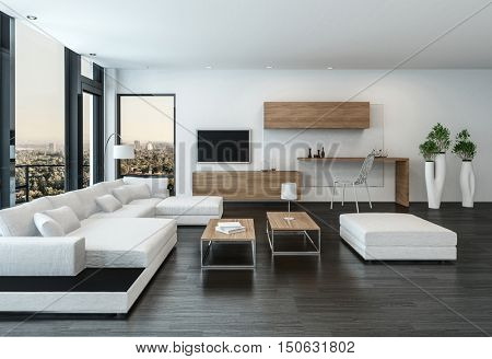 Elegant modern white living room interior with back accents and stone floor furnished with modular units and a television in front of view windows, 3d rendering