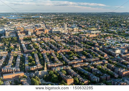 Boston city aerial view USA (top view)
