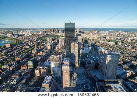 cityscape with skyscrapers Boston City USA (top view)