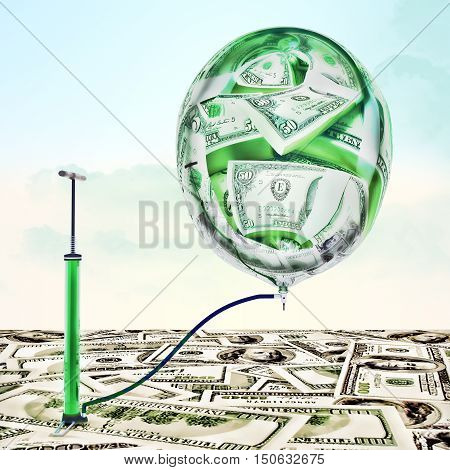 Inflating money. The pump pumped up the balloon with the image of dollars. 3D illustration