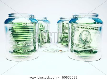 Glass flasks with money and three banknotes with coins - wealth and poverty concept. 3D illustration