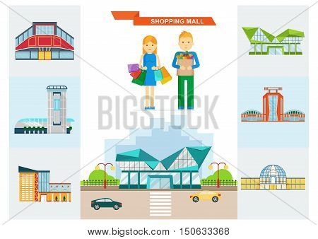 Vector shopping mall building. Set of colorful city store. Market shop place. A couple on shopping with shopping bags. Flat cartoon supermarket illustration. Objects isolated on a white background.