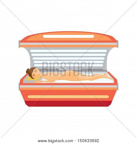 Young woman tanning naked in solarium. Vector flat cartoon illustration isolated on a white background
