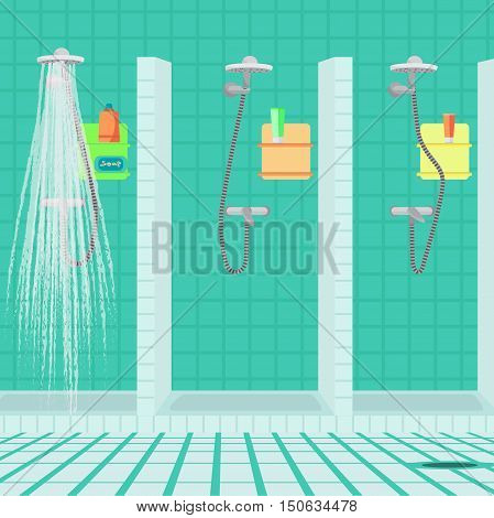 Interior of the shower room at the sports club. Public showers at the swimming pool. Vector flat cartoon illustration