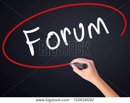 Woman Hand Writing Forum Black Marker On Visual Screen