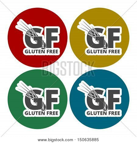 Gluten free Sign icons set in circle