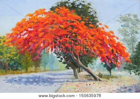 Oil color painting landscape original colorful of peacock flowers tree at roadside and sun light in blue background