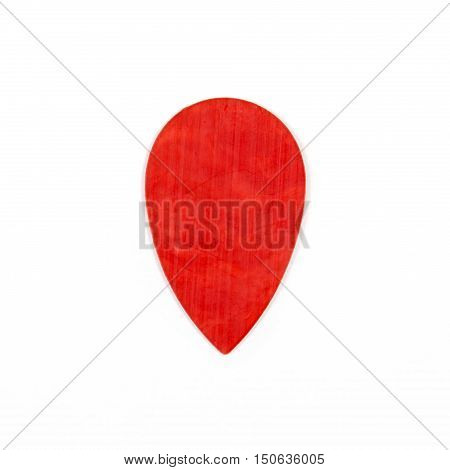 Red guitar plectrums isolated on a white background
