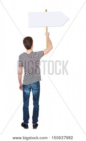 Back view man showing sign board. man holds information plate. Rear view people collection. backside view of person. Isolated over white background. man in a striped shirt holding a pointer.
