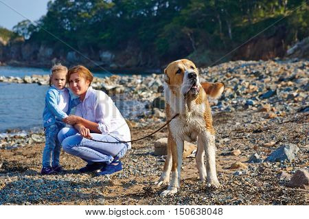 Mother with child and dog walk on the beach