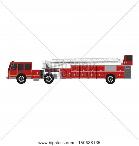 Truck equipped for rescue and fire fighting. Vector illustration fire truck icon flat style