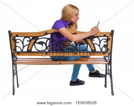 People Sitting At Table White Background. Of Woman Sitting On Bench And  Looks At The