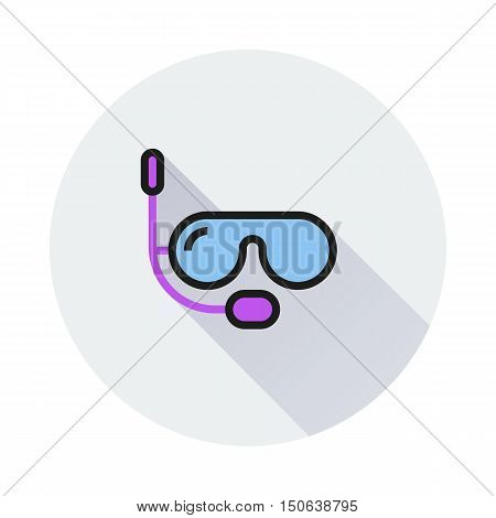 Diving mask icon on round background Created For Mobile Web Decor Print Products Applications. Icon isolated. Vector illustration
