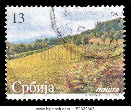 SERBIA - CIRCA 2007 : Cancelled postage stamp printed by Serbia, that shows landscape at mountain Goc.